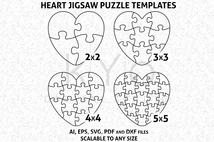 Heart Shape Jigsaw Puzzle Template AI EPS SVG DXF files, Puzzle Vector, Heart Puzzle Template Vector Image, vector puzzle pattern