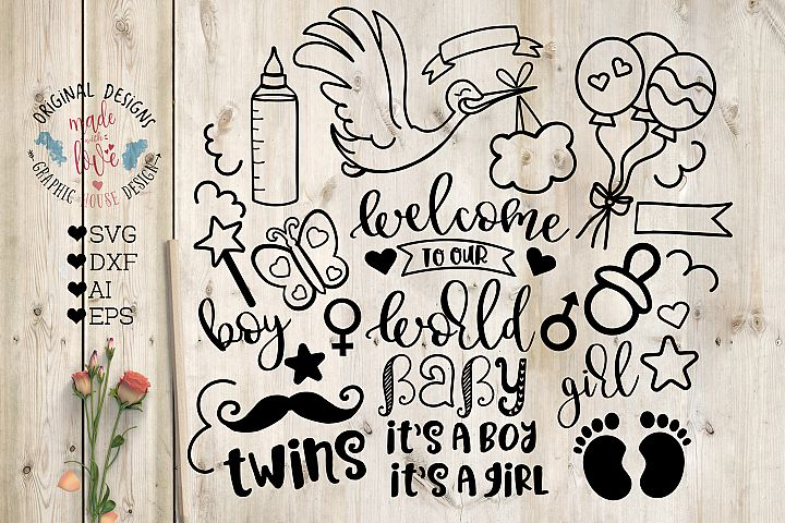 Baby Birth Graphics - Cut File in SVG, DXF, EPS, AI
