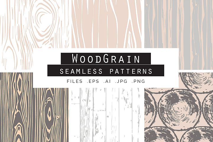 Woodgrain Seamless Vector Patterns
