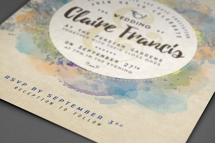 Pure Silver Watercolor Wedding Card example 4