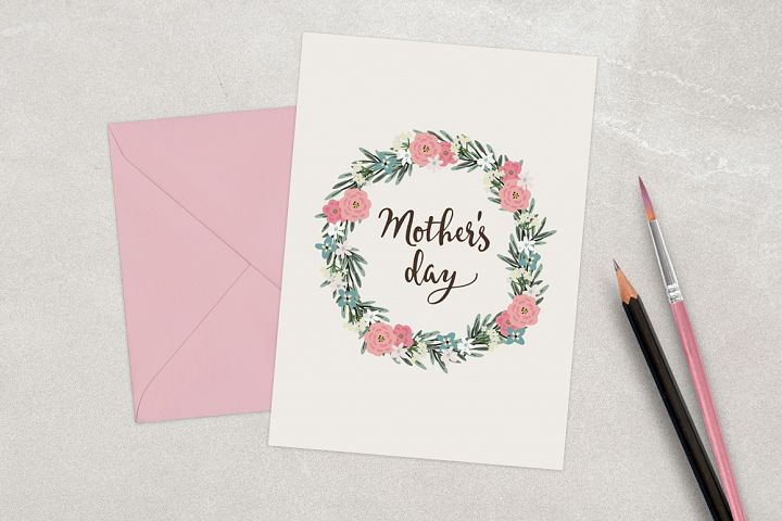 Happy Mothers day card with floral wreath