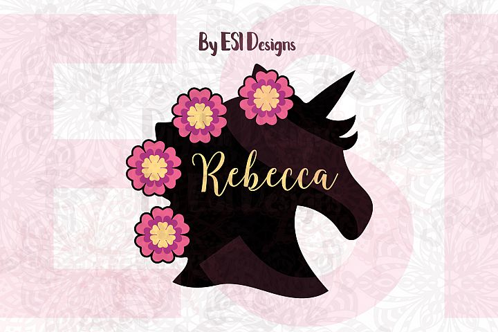 Unicorn Head Silhouette with Flowers | SVG, DXF, EPS & PNG