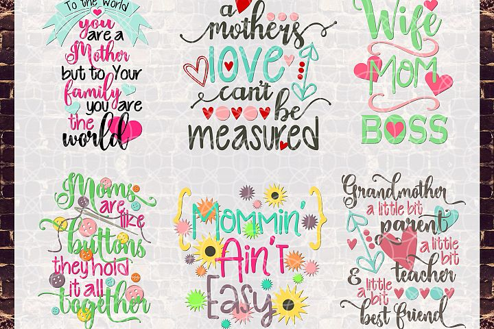 Mothers Day 2017 Bundle Svg, Dxf, Png Commercial & Personal Use