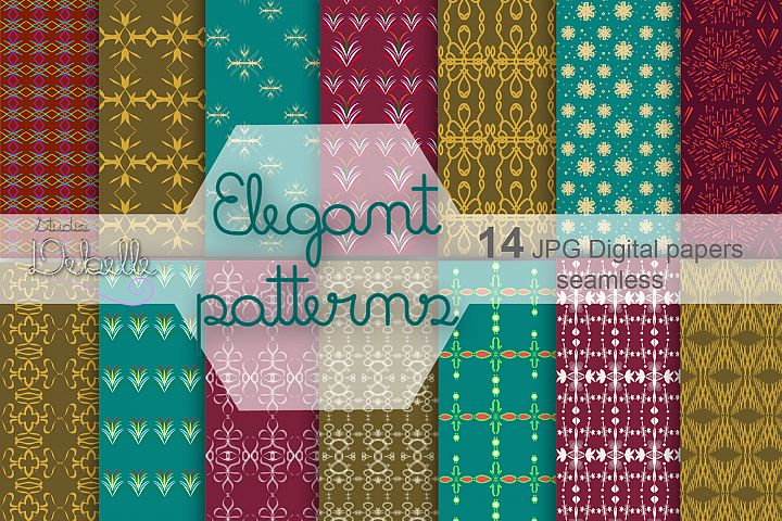 Elegant Patterns digital paper pack seamless pattern