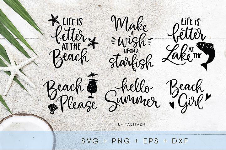 Beach bundle 6 cut files SVG, EPS, PNG, DXF