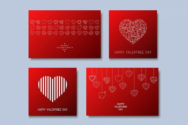 Hand drawn Valentines love cards