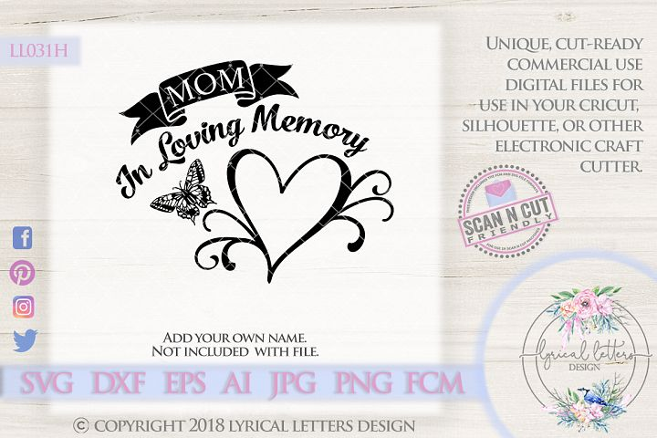 In Loving Memory with Butterfly SVG Cut File LL031H
