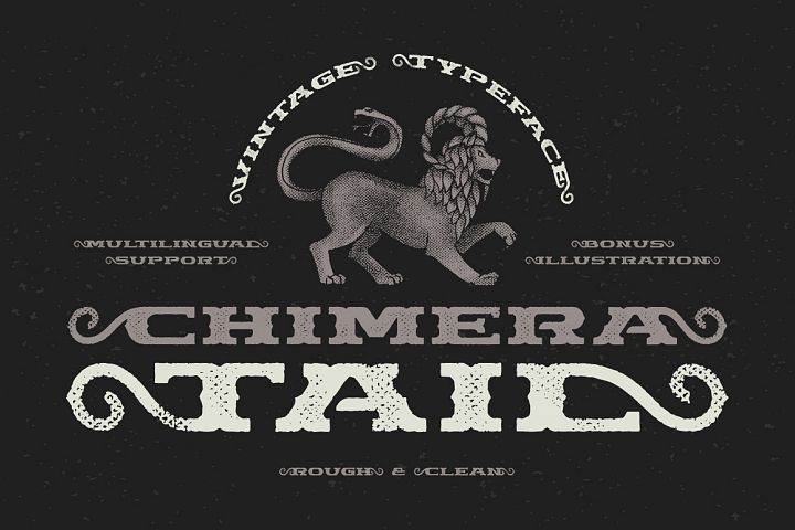 Chimera Tail, font + illustration