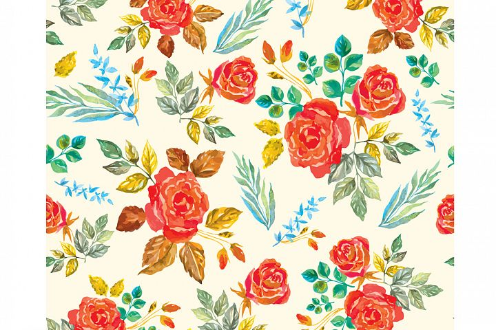 Set of watercolor design elements: rose flowers, plants, butterflies, seamless patterns, splashes.  - Free Design of The Week Design 9