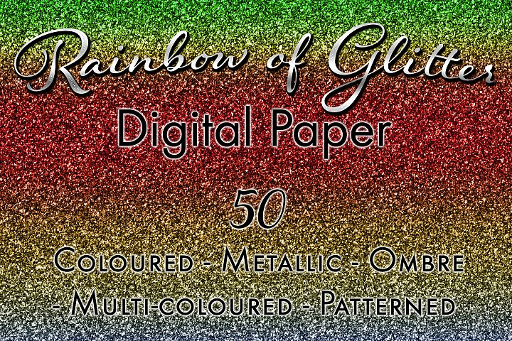 Rainbow of Glitter - 50 Digital Paper Images