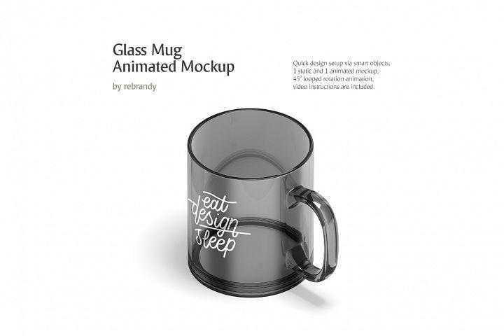New Glass Mug Animated Mockup (Coffe or Tea Cup, Glass Design Mock up, Mug Template)