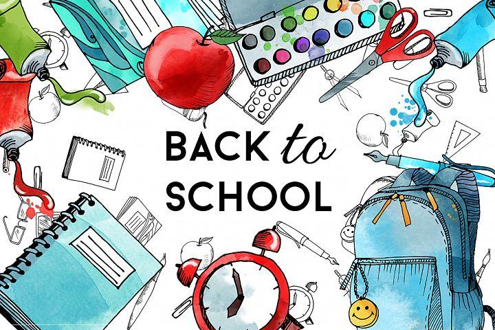 Back to school. Watercolor & vector