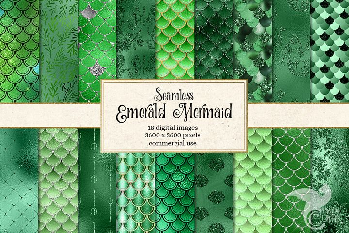 Emerald Green Mermaid Digital Paper