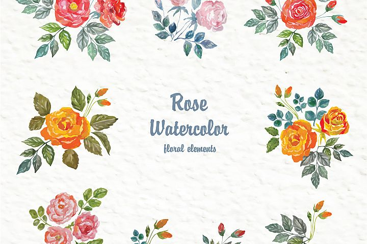Set of watercolor design elements: rose flowers, plants, butterflies, seamless patterns, splashes.  - Free Design of The Week Design 8