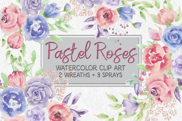 Pastel Roses: watercolor clip art mini bundle