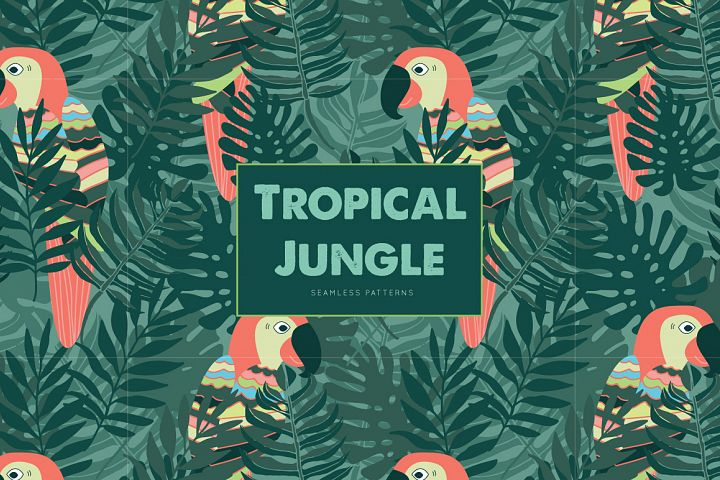 Tropical Jungle Seamless Patterns - 6 Pattern Collection