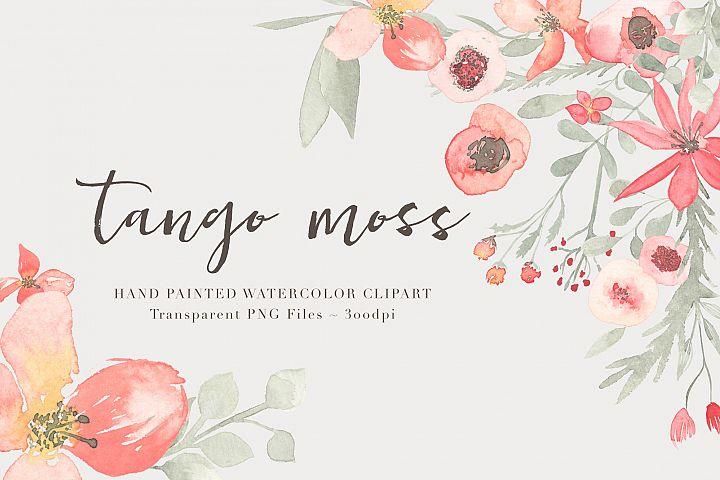 Watercolor Floral Clipart - Tango