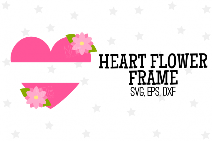Heart Flower Frame SVG File