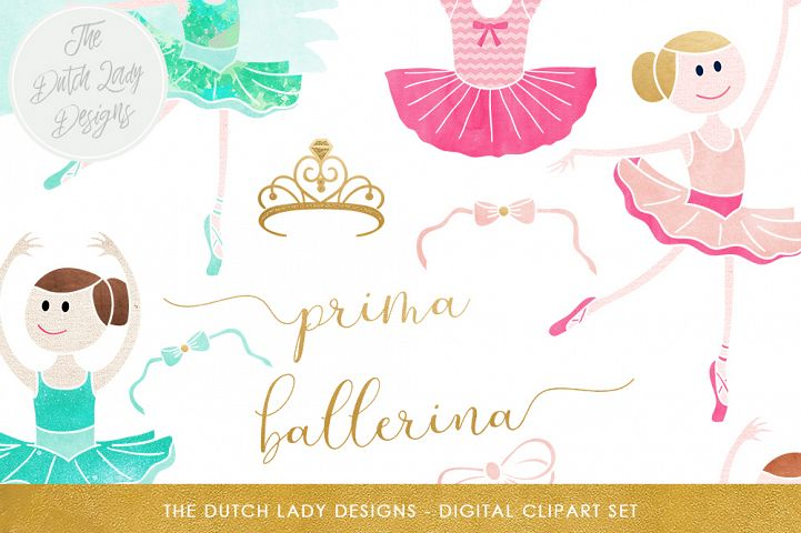 Ballerina & Ballet Clipart Set