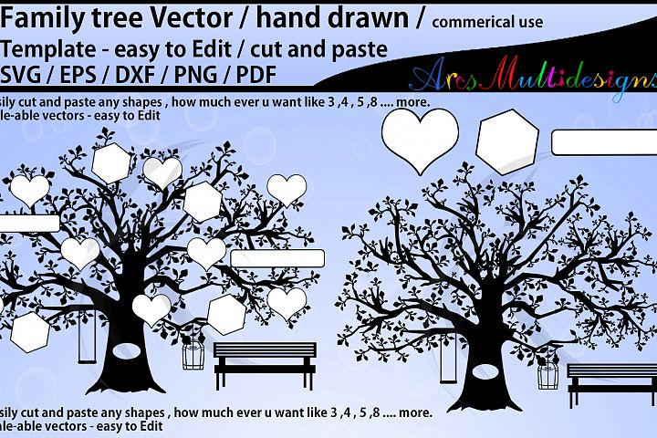 family tree clipart SVG template, EPS, Dxf, Png, Pdf, Jpg /family tree silhouette /hand drawn tree svg vector / Commerical & personal use