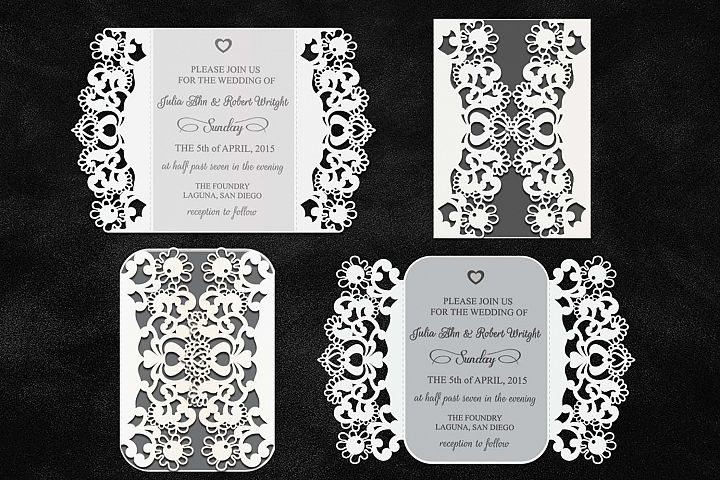 cricut wedding invitation, gate-fold card, laser cut rustic lace doily, svg cutting template, doilies quinceanera, invitations, dxf stensil