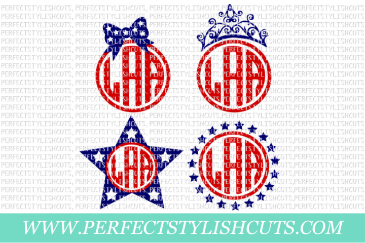 Patriotic Monogram Frames - SVG, EPS, DXF, PNG Files For Cutting Machines, Memorial Day Svg, 4th Of July Svg