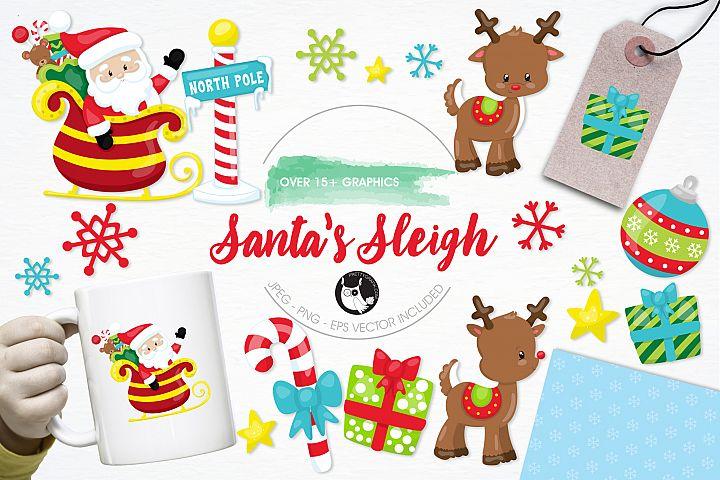 Santas Sleigh graphics and illustrations