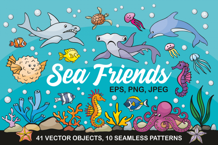 Sea Friends. Vector doodles and seamless patterns.