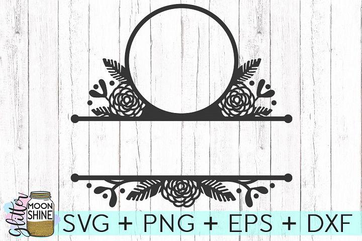 Floral Split Monogram Frame SVG DXF PNG EPS Cutting Files