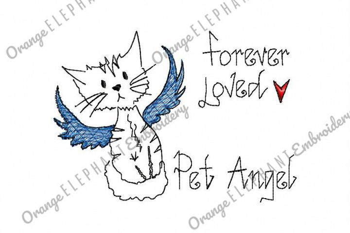 Hand Drawn Cat Pet Angel Unique Urban Machine Embroidery Design digital File
