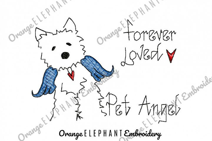 Dog Pet Angel Hand Drawn Unique Urban Machine Embroidery Design digital File