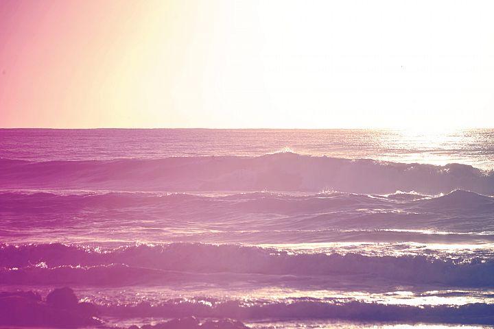 Vintage summer sunrise surfing