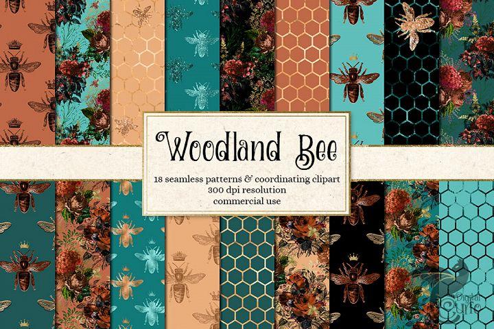 Woodland Bee Seamless Patterns