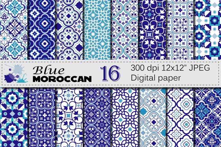 Blue Moroccan Digital Paper Pack / Blue Ethnic Tribal Geometric Ornamental Digital papers / Moroccan backgrounds / Scrapbooking Printable paper