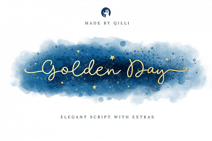 Golden Day Font with Extras & Shapes