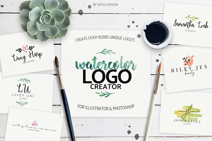 Premade Watercolor Logo Creator Kit for Illustrator + Photoshop