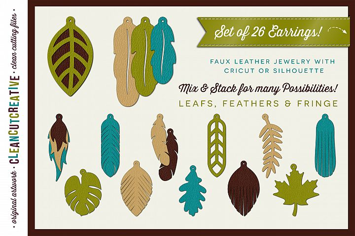 Set of 26 Faux Leather Earrings - SVG DXF EPS PNG - Cricut and Silhouette - clean cutting files
