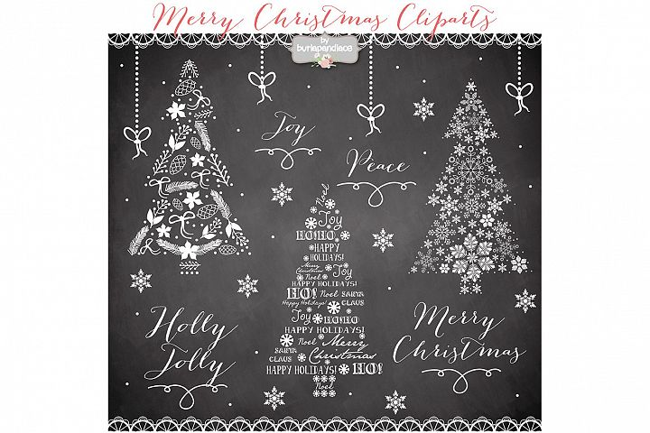VECTOR Clipart christmas tree chalkboard clip arts