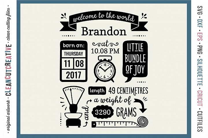 BIRTH STATS TEMPLATE - Baby Birth Announcement - SVG DXF EPSPNG - Cricut & Silhouette - clean cutting files