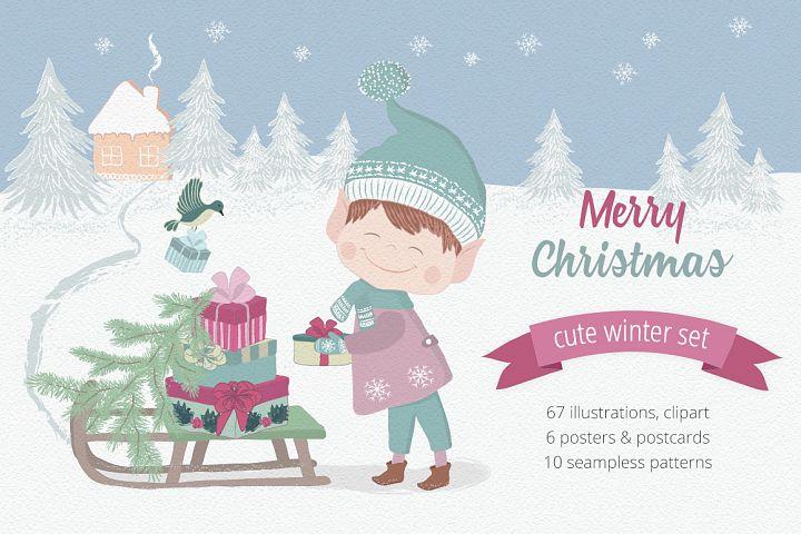 Merry Christmas Illustration Set