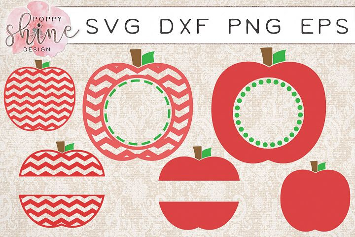 Apple Monogram Frame Bundle of 6 SVG PNG EPS DXF Cutting Files