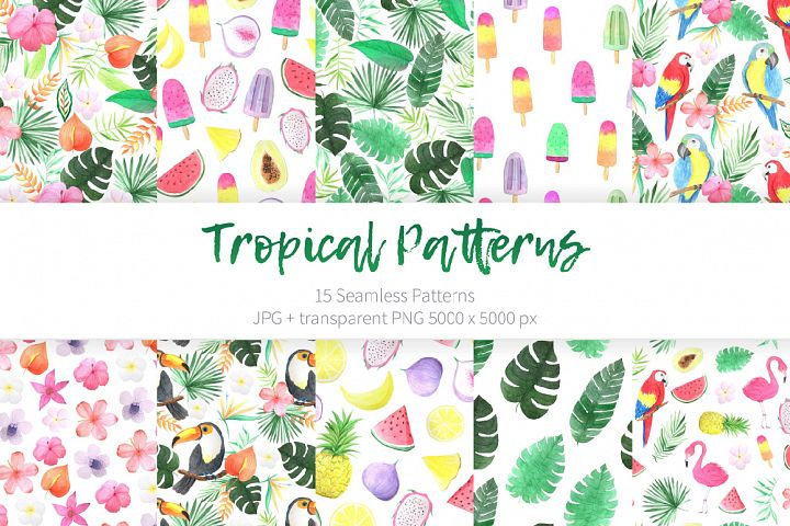 Watercolor Tropical Patterns Set
