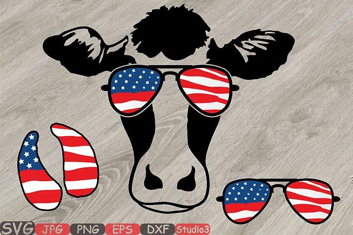 Cow USA Flag Glasses Silhouette SVG Cutting Files Clip Art Studio3 cricut cuttable Die Cut Machines cut layer cowboy western 4th July 831S