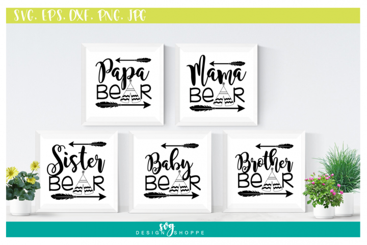 SVG Bundle, Papa Bear SVG Files, Mama Bear, Sister Bear, Baby Bear, Brother Bear, SVG files for Cricut, SVG for Silhouette, Commercial Use
