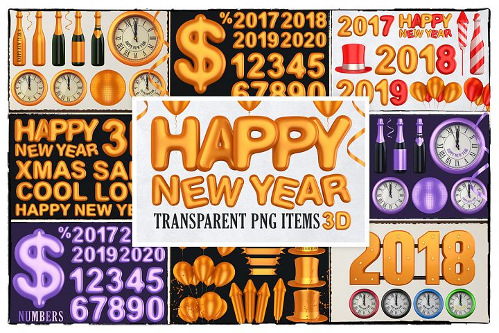 New Year 3D PNG Items Pack