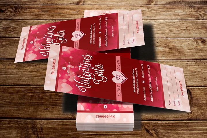 Red Hearts Valentines Gala Ticket Template