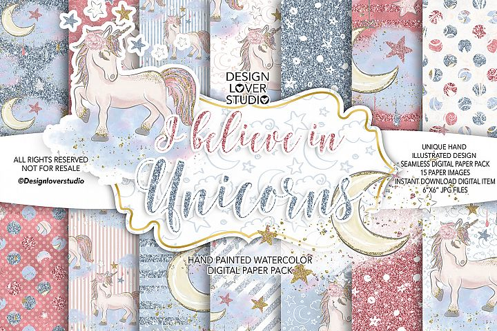 I believe in Unicorns digital paper pack