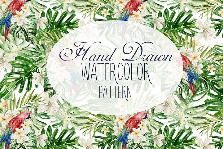 20 Hand Drawn Watercolor TROPICAL