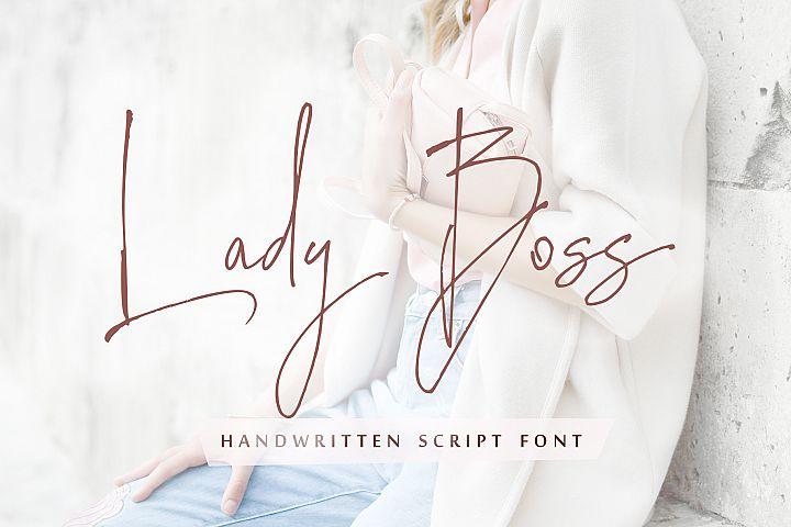 Lady Boss script font + Extras