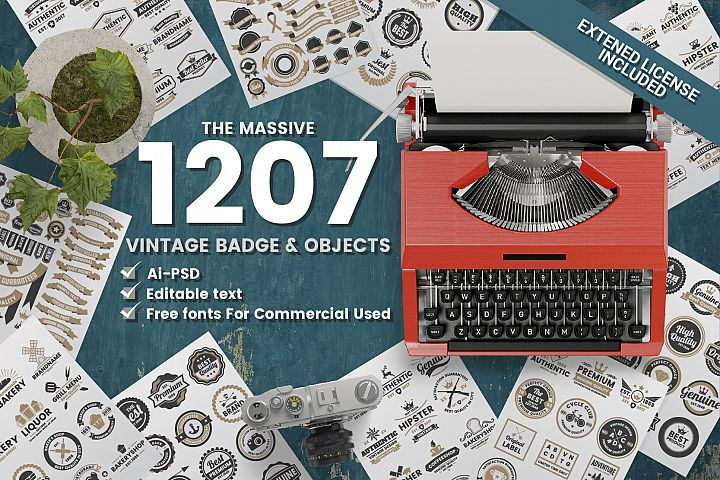 1207 Vintage Badge & Objects